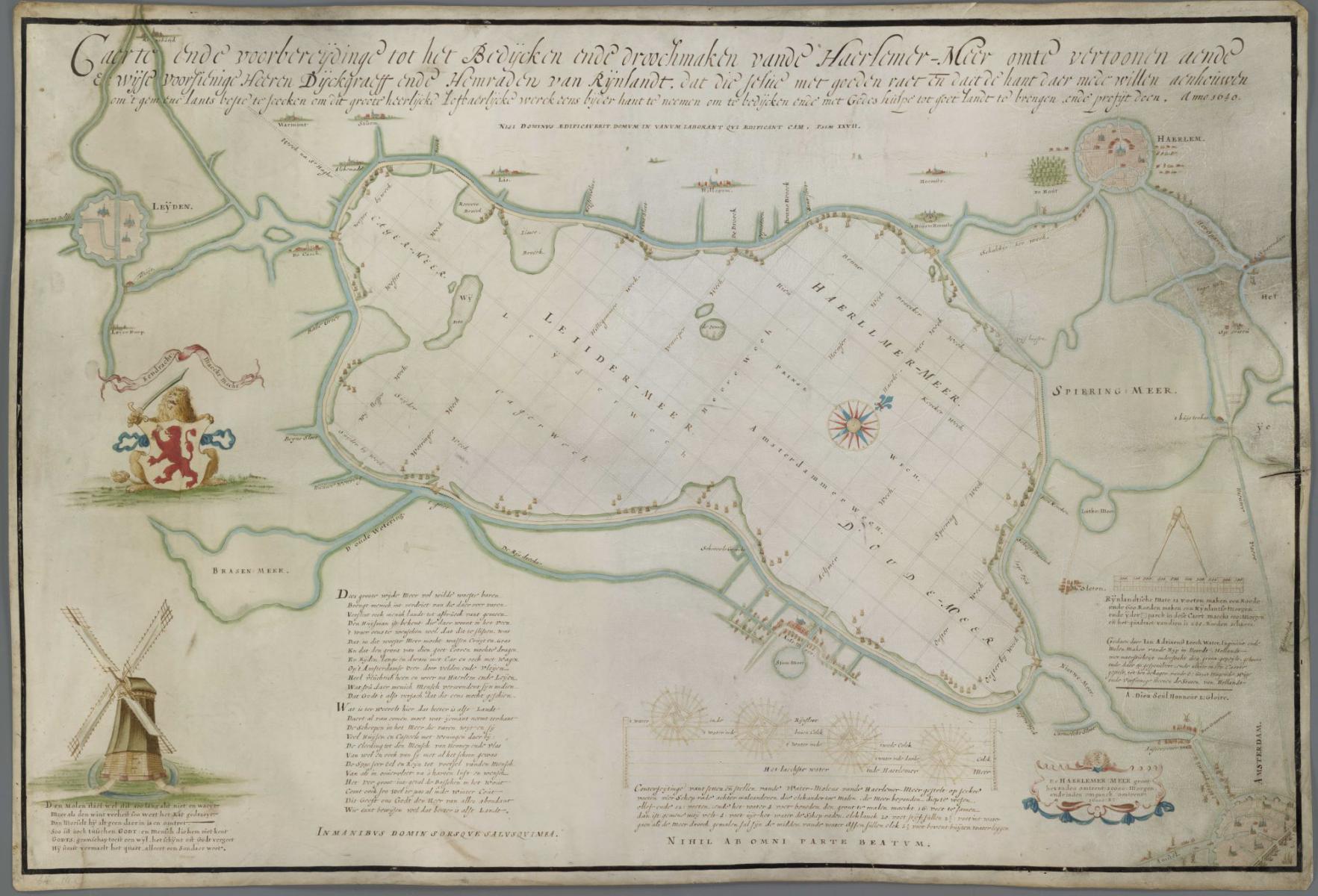 2. Leeghwater Caerte voorbereijdinge tot het bedijcken ende droochmaken van de Haerlemmermeer 1640