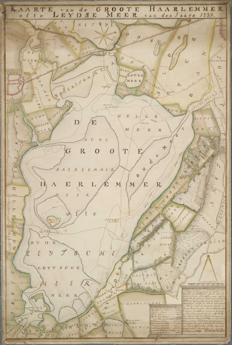 4. Bolstra Kaarte van de Groote Haarlemmermeer ofte Leytse Meer 1739