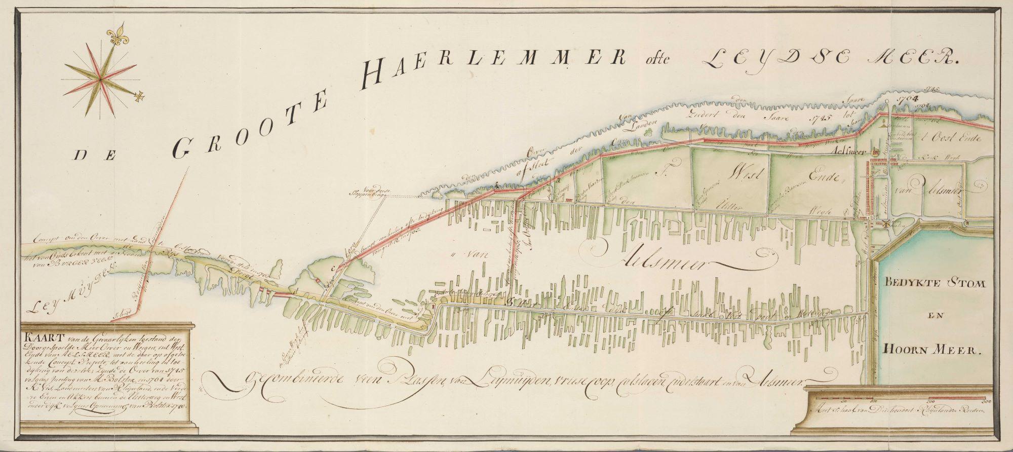 8. Klaas Vis Kaart van de gevaarlijke toestand der doorgespoelde Meerover en weegen int westeind van Aelmeer 1765
