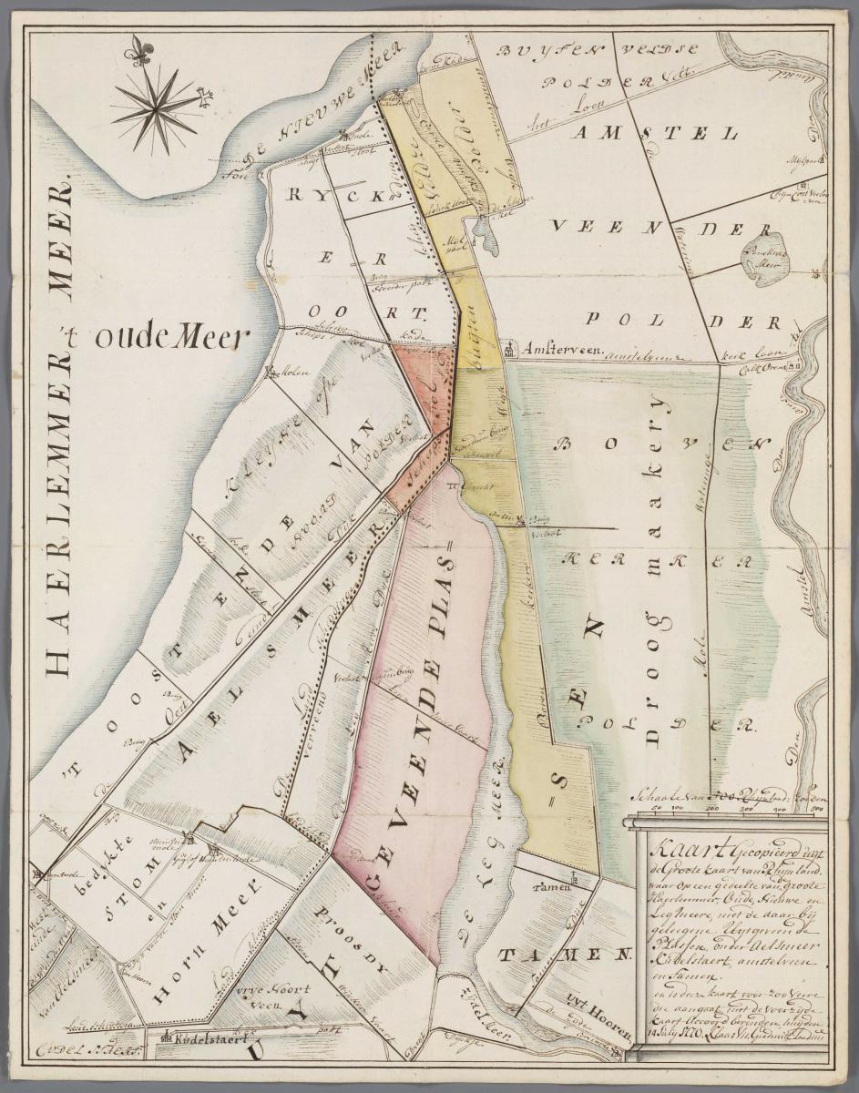 9. Klaas Vis Groote kaart van Rijnland gedeelte van de groote Haerlemmermeer 1770