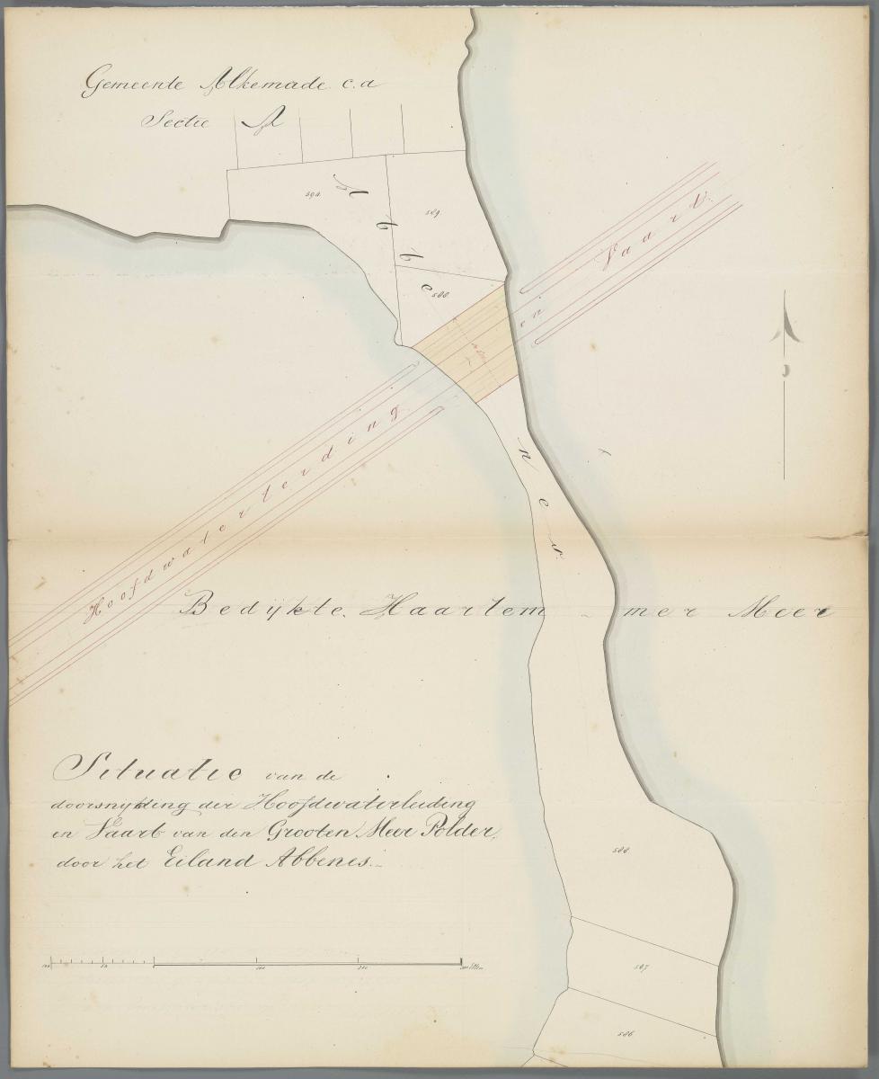 12. Hoofdwaterleiding door het Grootenmeer bij Abbenes 1850