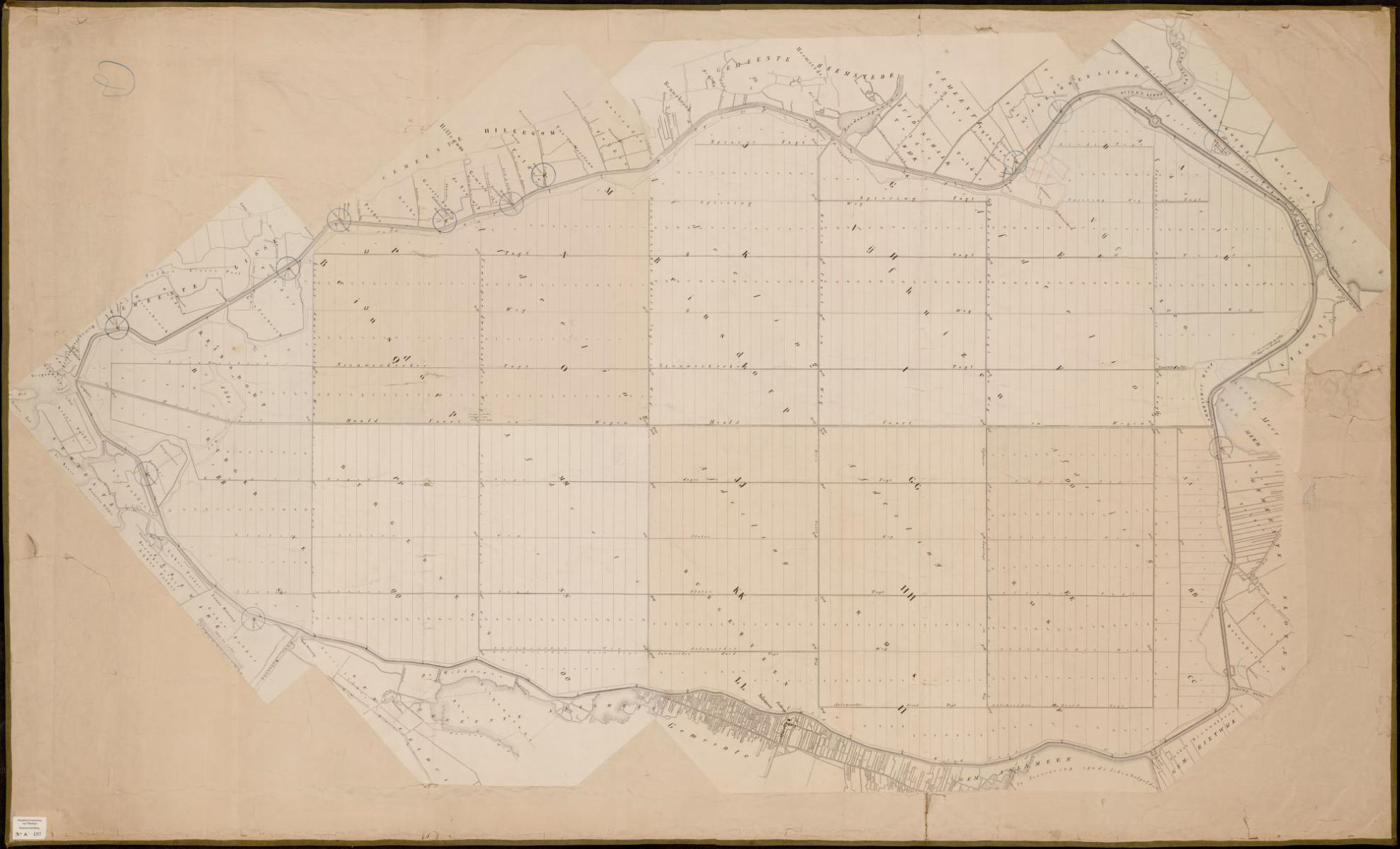 14. Kaart van de verkaveling van de Haarlemmermeerpolder 1855