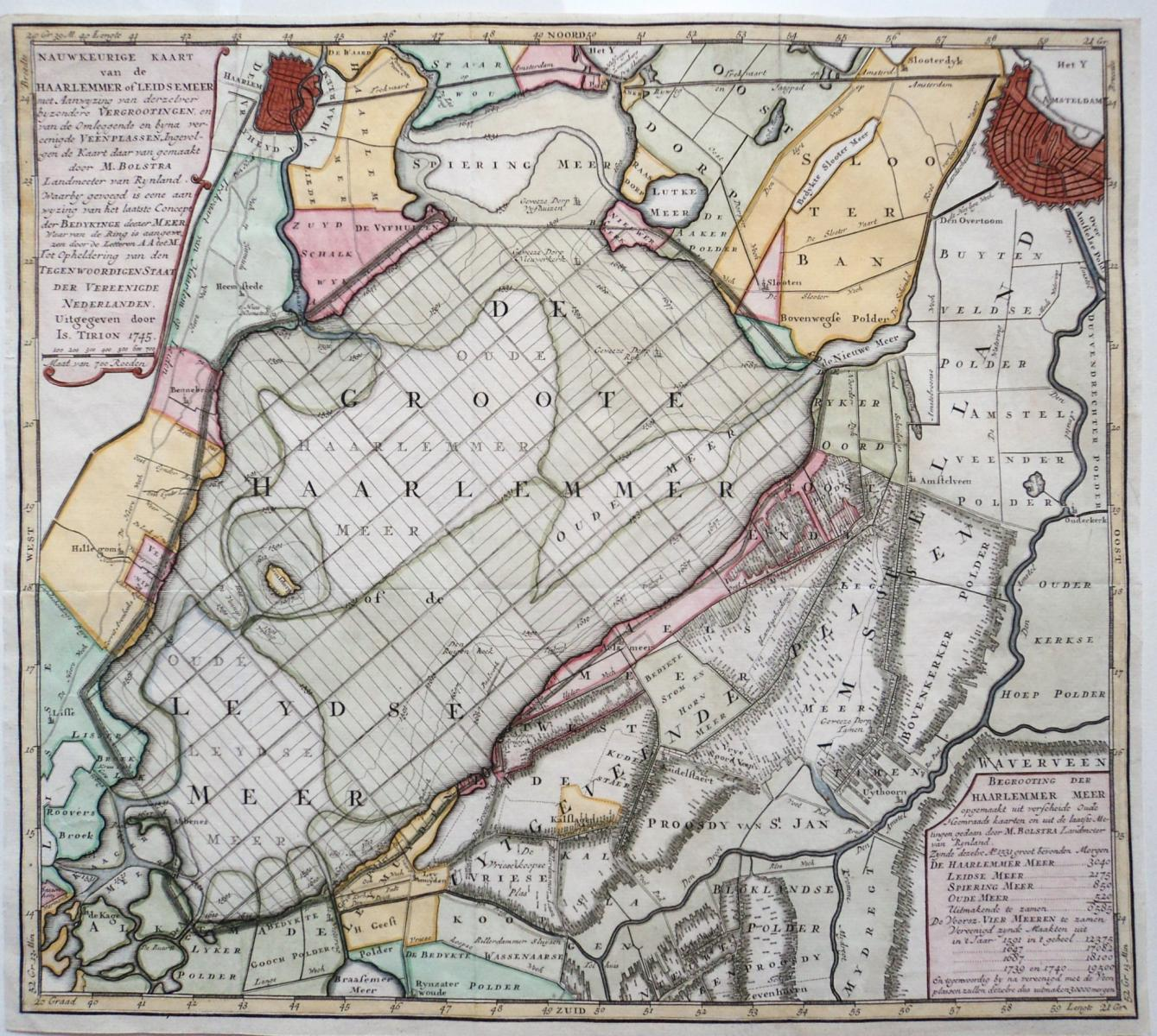Map of Haarlemmermeer by Isaak Tirion in 1745