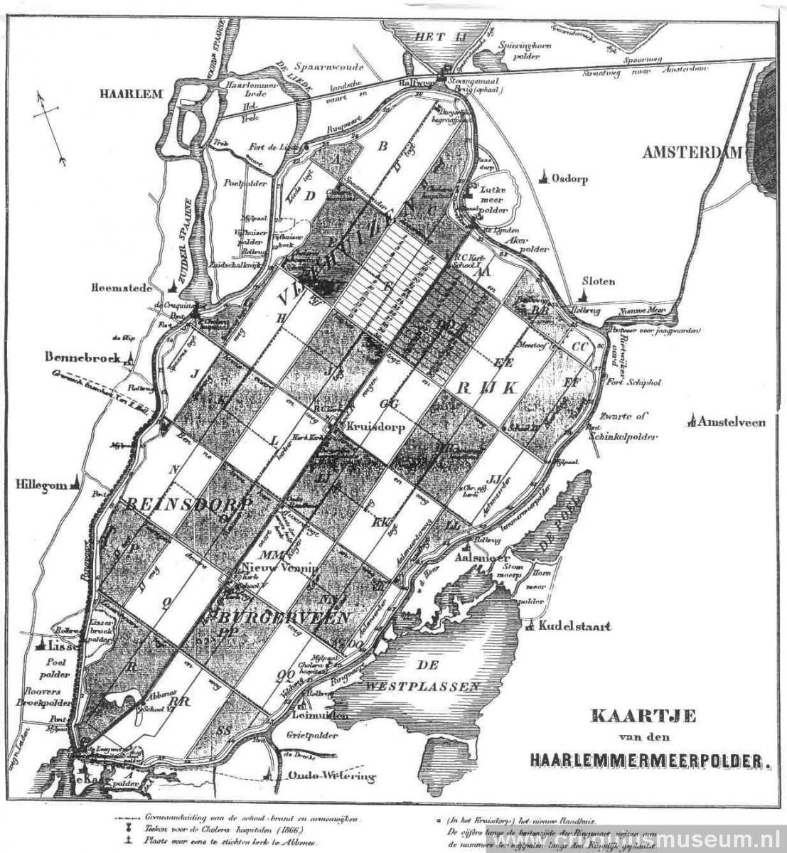 Map of dry making of Haarlemmermeer