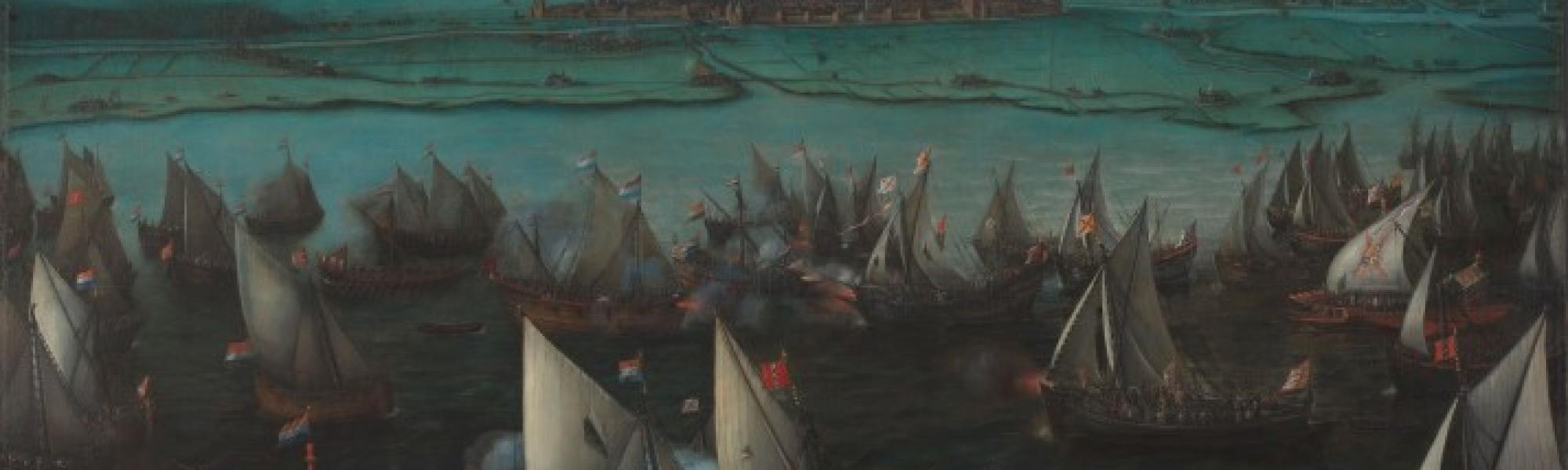 Schilderij van Zeeslag tussen Spaanse Vloot en Geuzen