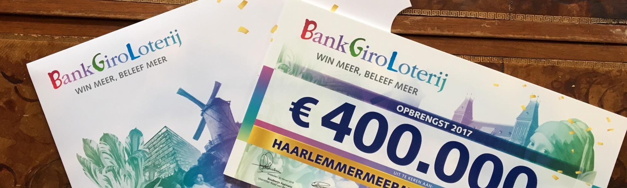 Cheque Bankgiroloterij Haarlemmermeermuseum De Cruquius